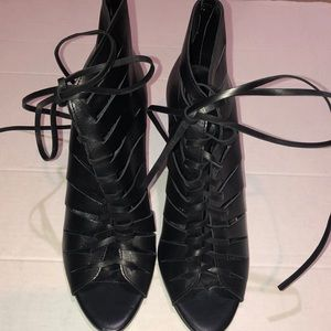 Zara black  leather lace up booties